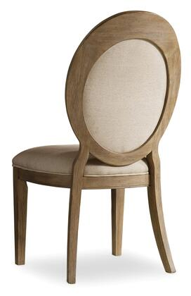 Corsica Series 5180-75412 41 inch  Traditional-Style Dining Room Oval Back Side Chair with Tapered Legs  Piped Stitching and Fabric Upholstery in