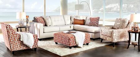 Esmay SM8115-SECTICOCOT 4-Piece Living Room Set with Sectional Sofa  Orange Chair  Ivory Chair and Ottoman in Multi