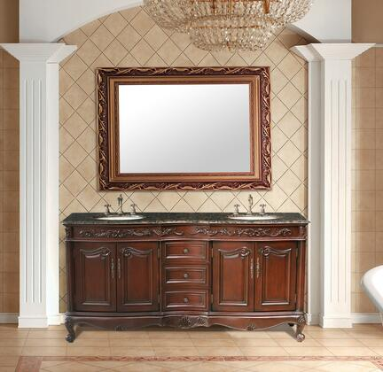 GM-3323-72-BB Stufurhome 72 inch Saturn Double Sink Vanity with Baltic Brown Granite