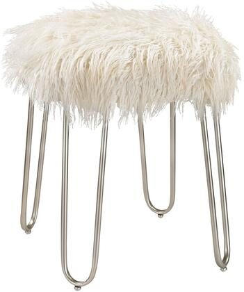 "Stool Collection 3169-018 15"" Betty Retro Stool with White Faux Fur Seat and Metal Construction in Silver"