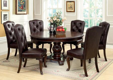 Bellagio Collection CM3319RT6FLSC 7-Piece Dining Room Set with Round Dining Table and 6 Leatherette Side Chairs in Brown Cherry