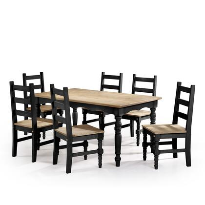 CSJ307 Jay 7-Piece Solid Wood Dining Set with 6 Chairs and 1 Table in Black