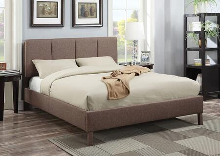 Rosanna Collection 25080Q Queen Size Bed with Wood Covered Legs  Low Profile Footboard  Hemlock and Fir Wood Frame  Supported Slats and Linen Fabric Upholstery