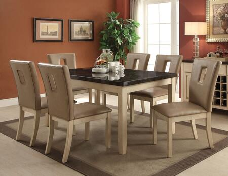 Faymoor Collection 717557TC 7 PC Dining Room Set with Dining Table + 6 Side Chairs in Antique White
