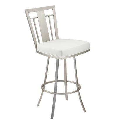 LCCL30SWBAWHB201 Cleo 30 inch  Modern Swivel Barstool In White and Stainless