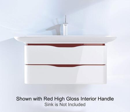PuraVida PV676908559 32 inch  x 22 inch  Wall Mounted Vanity with Recessed Grip  2 Drawers and Rounded Corners in White High Gloss Finish with Ebony Interior