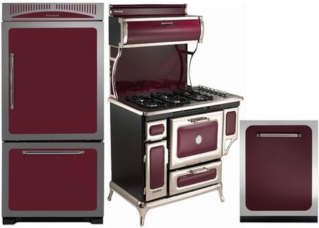 3-Piece Cranberry Kitchen Package with HCBMR19LCRN 30 inch  Bottom Freezer Refrigerator  5210CDPCRN 48 inch  Freestanding Electric Range  and HCTTDWCRN 24 inch  Fully