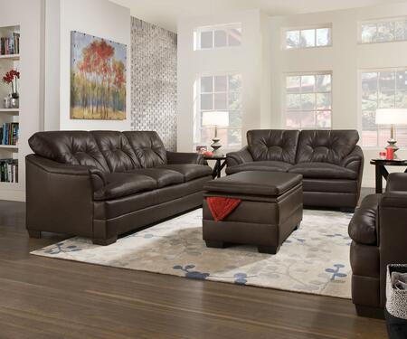 Apollo 5122-03201201297 4 Piece Set including Sofa  Loveseat  Chair and Ottoman with Faux Leather and Block Feet in