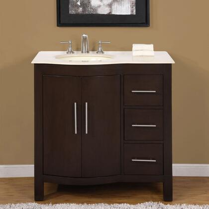 HYP0912WMUWC36L 36 inch  Single Left Sink Cabinet with 3 Drawers  1 Door  Carrara White Marble Top and Undermount White Ceramic Sink