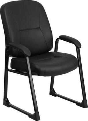 WL-738AV-LEA-GG HERCULES Series Big & Tall 400 lb. Capacity Black Leather Executive Side Chair with Sled