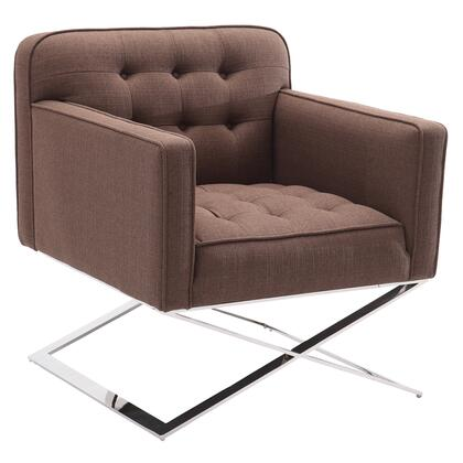 LC473CHBRF Chilton Accent Chair in Brushed Stainless Steel finish with Brown