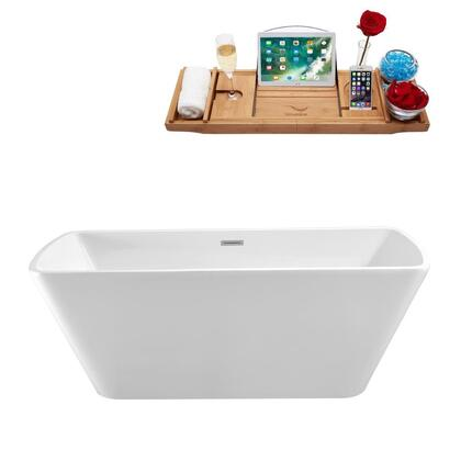 N68059FSWHFM 59 inch  Soaking Freestanding Tub with Internal Drain  Chrome Color Drain Assembly  162 Gallons Water Capacity  and Acrylic/Fiberglass Construction  in