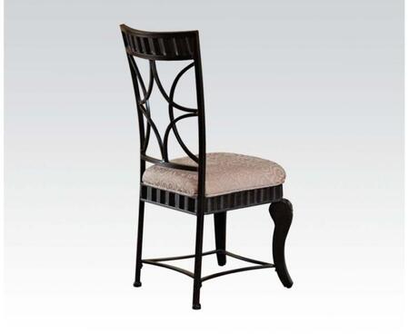 Lorencia Collection 70292 19 inch  Fabric Upholstered Side Chair with Distressed Detailing  Cabriole Legs and Molding Detail in Black