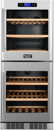 K280AV22 24 inch  Dual Zone Wine Cooler with 84 Bottle Capacity  Touch Key Control  LED Display  Safety Lock  Wooden Shelves and LED Lighting  in Stainless