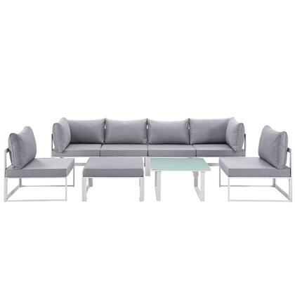 Fortuna Collection EEI-1728-WHI-GRY-SET 8-Piece Outdoor Patio Sectional Sofa Set with 2 Corner Sections  4 Center Sections  Ottoman and Side Table in White and