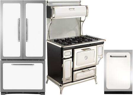 3-Piece White Kitchen Package with HCFDR23WHT 36 inch  French Door Refrigerator  5210CDGWHT 48 inch  Freestanding Dual Fuel Range  and HCDWI1WHT 24 inch  Fully Integrated