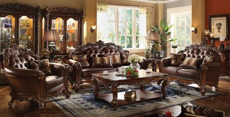 Vendome Collection 52001SLCT 6 PC Living Room Set with Sofa + Loveseat + Chair + Coffee Table + 2 End Tables in Cherry