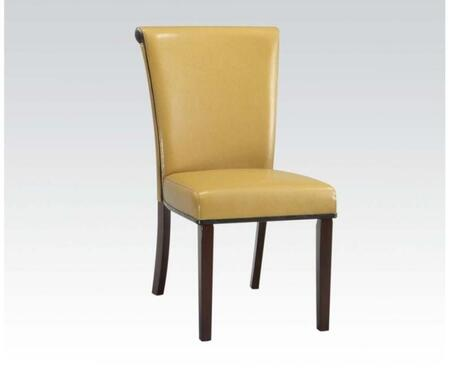71534 Set of 2 Jafar Side Chairs with PU Leather Upholstery in Mustard and