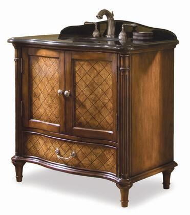 132227563606 Orleans Vanity with Lattice Detailing  White Porcelain Undermount Sink  Black Granite Top  Adjustable Shelf and One Working Drawer in Golden Brown