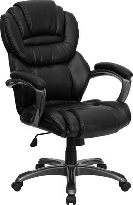GO-901-BK-GG High Back Black Leather Executive Office Chair with Leather Padded Loop