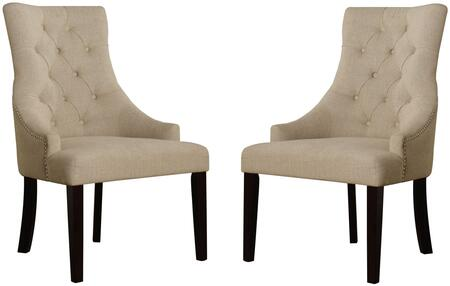 Drogo Collection 38 inch  Set of 2 Accent Chairs with Nailhead Trim  Button Tufted Back  Tapered Legs and Fabric Upholstery in Cream