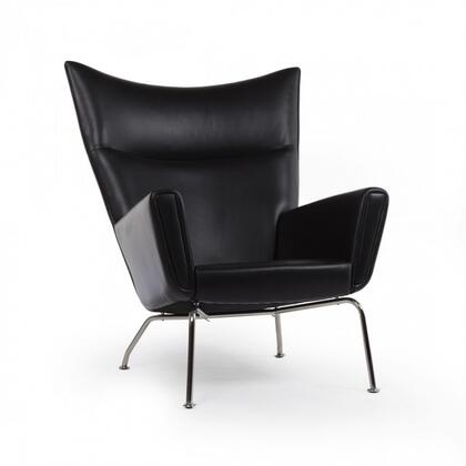 Hoffman FB9788BLACK Lounge Chair with Stainless Steel Legs  Track Arms and Aniline Leather Upholstery in
