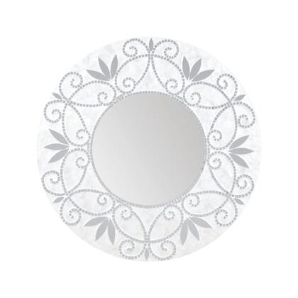 Surrey Collection 7163-077 32 inch  Wall Mirror with 12 inch  Round Shape  Mosaic Pattern and Wood Materials in Silver and White
