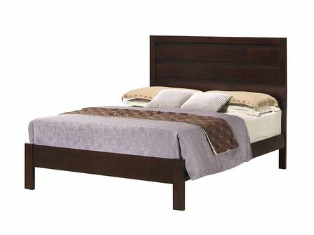 Cameron Collection 203491Q Queen Size Panel Bed with Clean Line Design  Horizontal Line Paneling on Headboard  Low Profile Footboard and Hardwood Construction