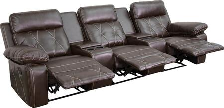 BT-70530-3-BRN-GG Real Comfort Series 3-Seat Reclining Brown Leather Theater Seating Unit with Straight Cup 548620