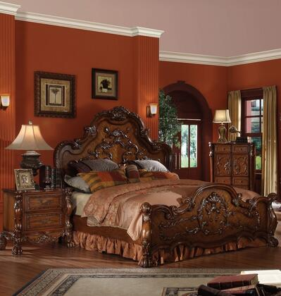 Dresden Collection 12140Q3SET 3 PC Bedroom Set with Queen Size Bed  Chest and Nightstand in Cherry Oak