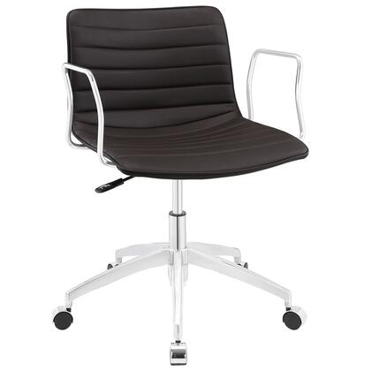 Celerity Collection EEI-1528-BRN Office Chair with 360-Degree Swivel Seat  Five Dual-Wheel Steel Casters  Mid-Century Modern Style  Polished Chrome Aluminum