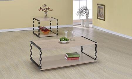 Jodie 80375CE 2 PC Living Room Table Set with Coffee Table + End Table in White Washed
