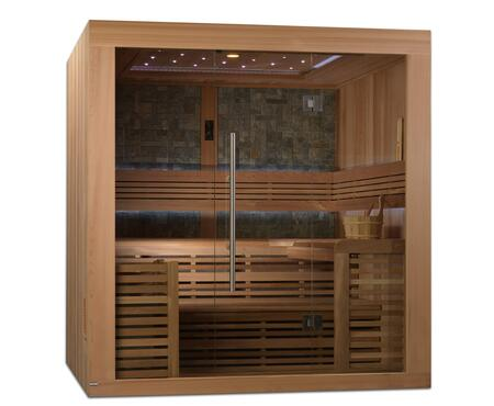 Bergen Luxury Edition GDI-7689-01L 83 inch  Traditional Steam Sauna with 4-6 Person Capacity  7.5KW Stove  Galaxy Star Color Therapy Lighting System  and Stone