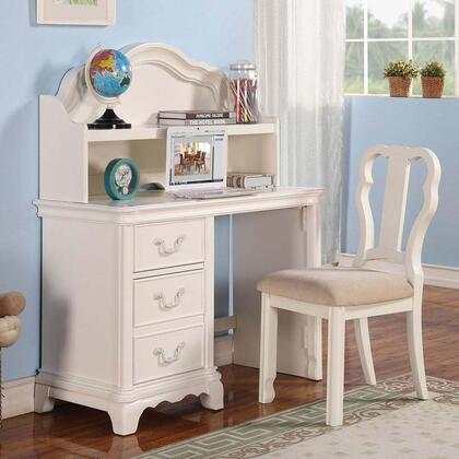 Ira 301523PC Desk Set with Desk + Hutch + Chair in White