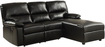 Artha Collection 51555 82 inch  Sectional Sofa with Right Arm Facing Loveseat  Left Arm Facing Chaise  Motion Mechanism and Bonded Leather Match Upholstery in Black