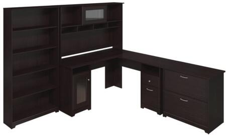 Cabot WC31830-03K-31-66-80 3-Piece Desk and Hutch Set with 5 Shelf Bookcase and Lateral File Cabinet in Espresso