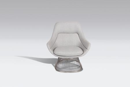Platner FB9180LGREYCHR Easy Chair with Stainless Steel Base  Piped Stitching and Fabric Upholstery in Light Grey and