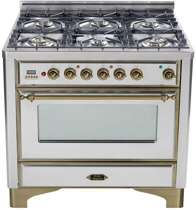 "UM-906-DMP-I-Y 36"" Majestic Series Dual Fuel Range with 3.55 cu. ft. Oven Capacity  6 Burners  Electronic Ignition  Digital Clock and Timer  and Oiled Bronze"