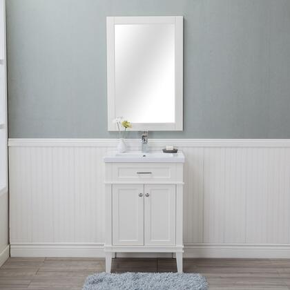 HE-104SL-24-W-CTSF Lancaster 24 in. Single Bathroom Vanity in White with Porcelain Top (Single