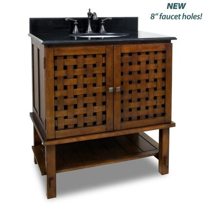 VAN055-T Lyn Nutmeg Basketweave Vanity Cabinet with Preassembled Top and