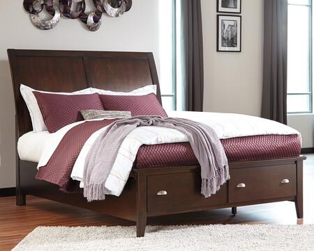 Evanburg Collection B598-58-56S-97S King Size Bed with Sleigh Style Headboard  Clean Line Design  Storage Footboard with 2 Drawers  Tapered Legs  Okoume Veneer