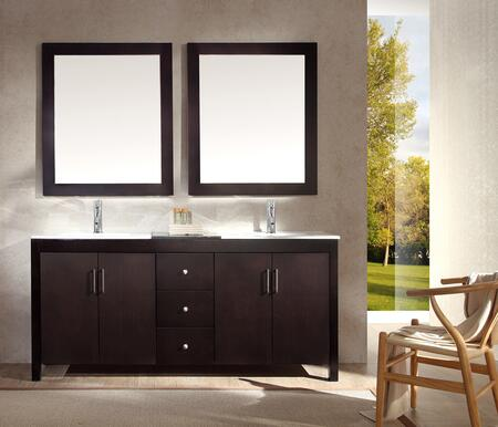 K072DESP Ariel Hanson 72 inch  Double Sink Vanity Set with Black Granite Middle Countertop  Block Feet  Simple Pulls and Matching Framed Mirrors in