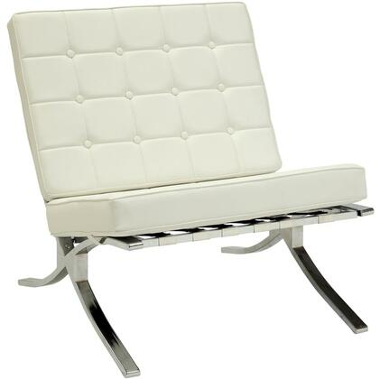 Elian Collection 96374 30 inch  Accent Chair with  inch X inch  Style Chromed Metal Leg  Button Tufted Cushions  Metal Frame and PU Leather Upholstery in Ivory