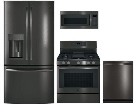 4-Piece Black Stainless Steel Kitchen Package with GFD28GBLTS 36 French Door Refrigerator  JGB700BEJTS 30 Freestanding Gas Range  JVM7195BLTS 30