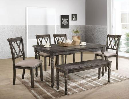 Claudia II Collection 718806SET 6 PC Dining Room Set with Dining Table  Bench and 4 Beige Fabric Seat Side Chairs in Weathered Grey