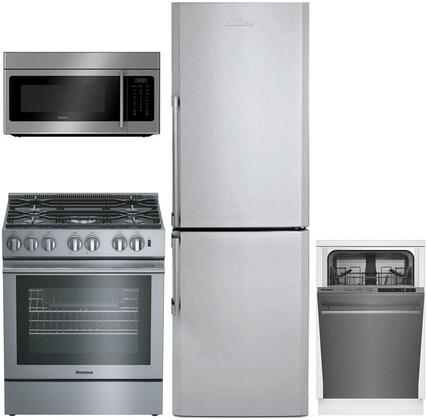 4-Piece Apartment Size Kitchen Appliance Package with BRFB1322SS 24