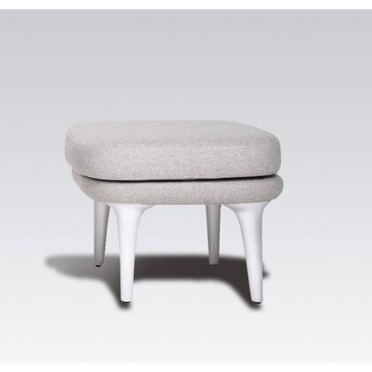 Hamlen FB5129LGREYOTT Ottoman with Stainless Steel Frame  Fiberglass Legs and Fabric Upholstery in Light
