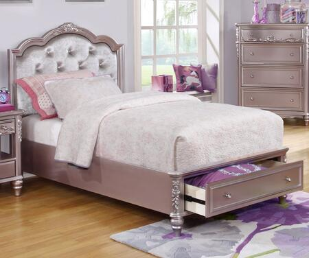 Caroline Collection 400891T Twin Size Storage Bed with 1 Footboard Drawer  Padded Upholstered Headboard  Rhinestone Button Tufting  Decorative Molding and