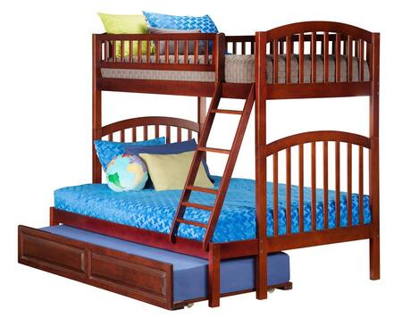 Richland AB64234 Twin Over Full Bunk Bed With Raised Panel Trundle Bed In Antique