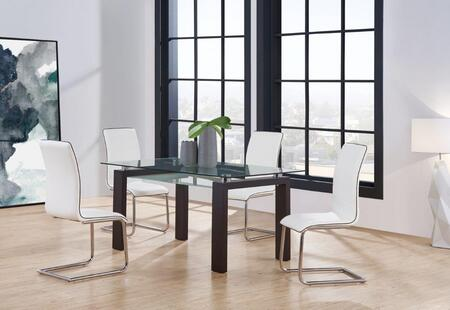 D646DT4D490DC-WH 5-Piece Dining Room Set with Dining Table and 4 Dining Chairs in Black Walnut and